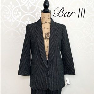 BAR III BLACK SILVER/GOLD PINSTRIPED BLAZER XL
